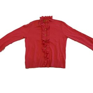 Tory Burch Ruffle Cardigan Cashmere Wool Pink